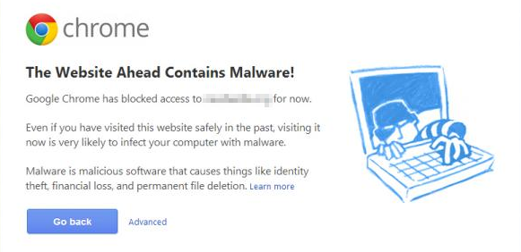 Google malware warning shown to browsers